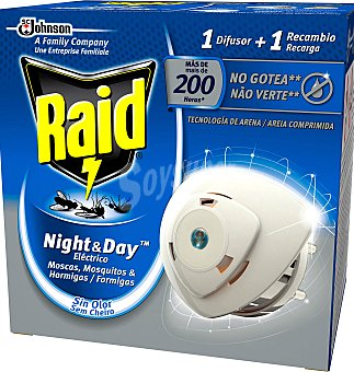 Raid Insecticida raid night&day difusor y recambio + 1 difusor de