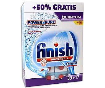 FINISH QUANTUM Lavavajillas concentrado en pastillas Power&Pure, limpieza brillante, menos químicos y oxigeno activo 33+17 unidades