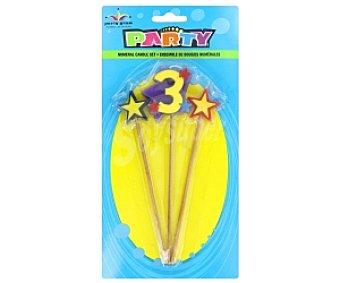 Party Velas palillo estrella Número 3 1u