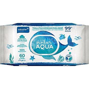 Salustar Toallitas húmedas biodegradables para bebé Natur Aqua Paquete 60 unidades
