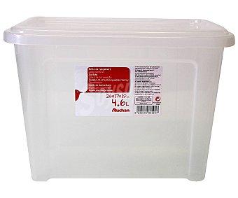 AUCHAN Caja de ordenación con tapa, capacidad de 4,6 litros, fabricada en plástico transpartente, 26,2x17x18,8 centímetros 1 Unidad