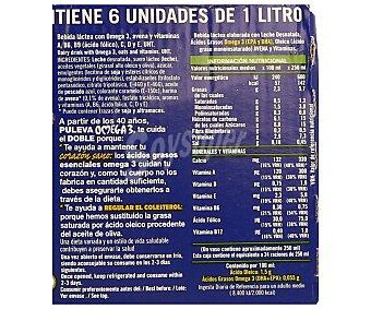 Puleva Leche omega 3 con avena,, caja de 6 bricks de 1 litro 6x1L