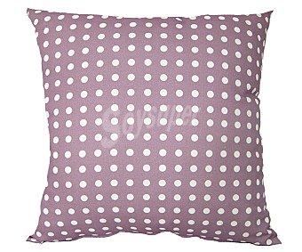 Auchan Cojín tejido panamá 100% algodón con fondo color rosa y estampado topos color blanco, 45x45 centímetros 1 unidad