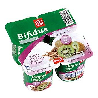 DIA Yogur bífidus con kiwi 0% pack 4 unidades 125 g Pack 4 unidades 125 g