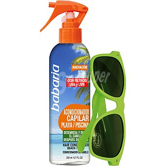 Babaria Acondicionador capilar para el sol con filtros uva para playa y piscina + gafas de sol Spray de 200 ml