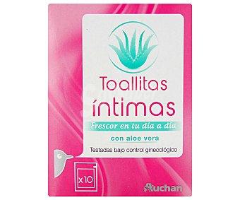 Auchan Toallitas para la higiene íntima con aloe vera 10 unidades
