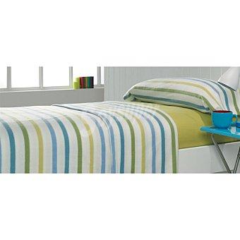 Casactual juego de cama de pirineo con rayas multicolores y bajera en verde para cama 90 cm
