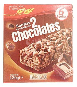 Hacendado Barrita cereales 2 chocolates Caja 6 u