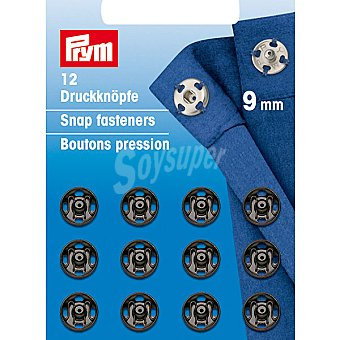 PRYM Estuche 12 broches de presion en color negro de 9 mm