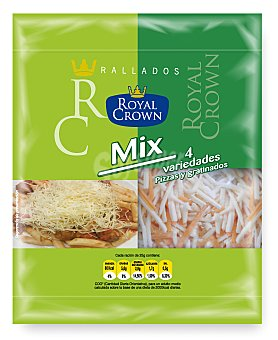 ROYAL CROWN Queso rallado mix 4 variedades 115 g
