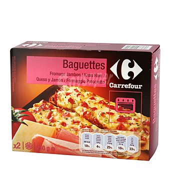 Carrefour Baguettes con jamón, bacon y queso 250 g