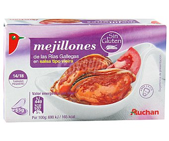 Auchan Mejillones en salsa de vieira 14/18 piezas Lata de 65 gramos