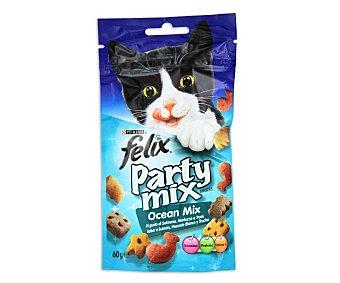 Felix Purina Snack para gatos con sabor a salmón, pescado blanco y trucha  paquete 60 g