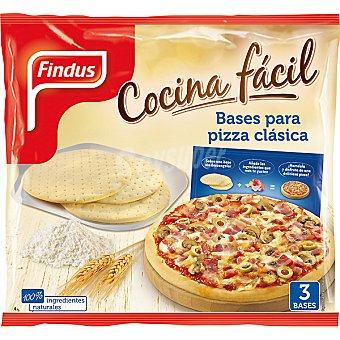 Findus Bases para pizza clásia Cocina fácil Pack 3 unidades (bolsa 345gr)