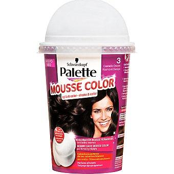 Schwarzkopf Palette tinte nº 3 Castaño Oscuro coloración Mousse Color permanente con brillo intenso con perfume afrutado envase 1 unidad