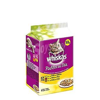 Whiskas Platitos del día selección de variedades de carnes blancas en salsa Pack 6 bolsa 50 g