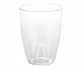 Inteplas Maceta transparente, diámetro de 16 cm, altura total 13 cm,