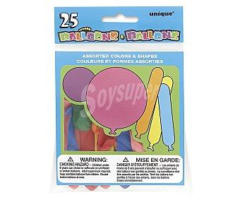 UNIQUE Globos de colores y formas surtidas 25 unidades