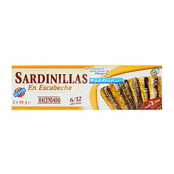 Hacendado Sardinillas escabeche Lata pack 2 - 180 g escurrido 130 g