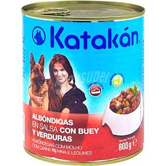KATAKÁN Albóndigas en salsa con buey y verduras para perros Lata de 800 g