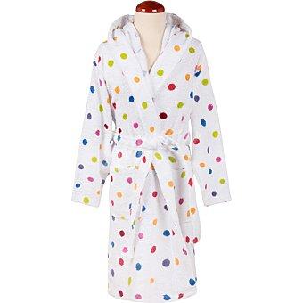 Casactual Albornoz infantil con capucha en blanco con lunares multicolores de 2 a 4 años