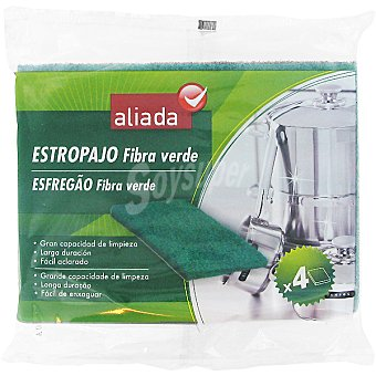 Aliada Estropajo fibra verde Envase 4 unidades