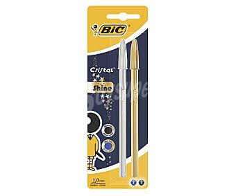 Bic Lote de 2 bolígrafos de punta media con grosor de escritura de 1 milímetros y tinta con base de aceite de color plata y oro cristal shine