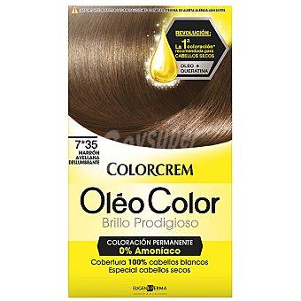 Colorcrem Tinte óleo Marrón Avellana Deslumbrante nº 7.35 coloración permanemte sin amoniaco Caja 1 unidad