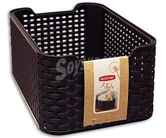 Curver Caja cesto multiusos resistente al agua y la humedad, 7 litros, modelo My Style, color marrón chocolate 1 unidad