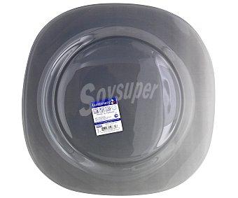 Luminarc Plato llano modelo Carina Colors de 25.5 centímetros, fabricado en vidrio templado de color gris y diseño cuadrado con bordes redondeados 1 Unidad
