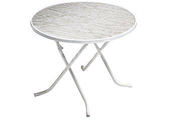 ALCO Mesa redonda para jardín y terraza con patas de acero de color blanco y tablero de marmol de 90 centímetros 1 unidad
