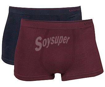 UNNO Smart comfort Pack de 2 bóxer de algodón sin costuras unno UH102/2, color negro/burdeos, talla XL 2u