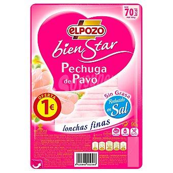 ElPozo Pechuga de Pavo sin grasa reducida en sal Paquete de 90 g