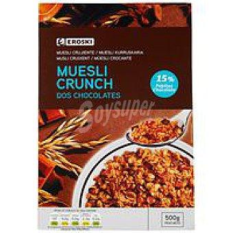 Eroski Cereales muesli crunch con dos chocolates Caja 500 g