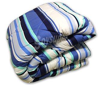 Auchan Relleno nórdico acrilíco para cama de 105 centímetros, estampado a rayas azul, densidad de 200 gramos 1 Unidad