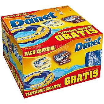 DANONE DANET pack especial natillas vainilla + natillas chocolate pack 4 unidades 125 g con regalo de un flotador gigante pack 4