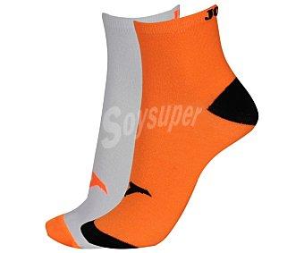 JOMA Pack de 2 pares de calcetines deportivos tobilleros, color naranja flúor/blanco, talla 43/46 Pack de 2