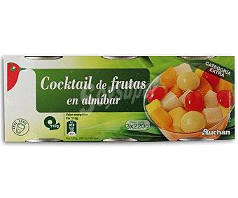 Auchan Cocktail de frutas en almíbar ligero Pack de 3 unidades de 125 gramos