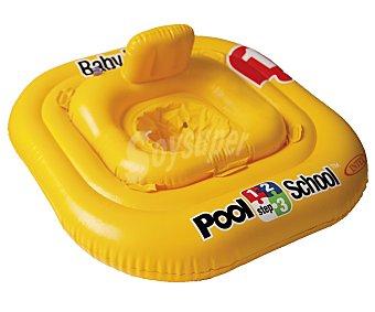 POOL SCHOOL Flotador de seguridad con doble aro y asiento con resplado incorporado, recomendado para niños de hasta 1 año