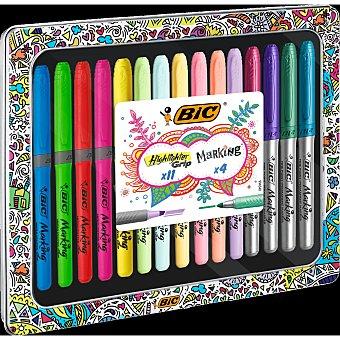 Bic BIC My Box - Set de 11 Highlighter Grip Bolígrafo Pastel/4 Marking Marcadores - Caja Metálica de Regalo 11 ud