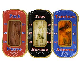 APERITIVOS IÑAKI Pack indivisible de anchoas en aceite, boquerón aliñado y mejillones en salsa roja,, 81 gramos