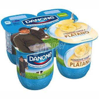 Danone Yogur sabor plátano  Pack 4 unidades de 125 g