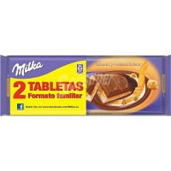 MILKA CHOCOLATE RELLENO DE CARAMELO Y AVELLANAS ENTERAS TABLETA PACK 2 x 300 g - 600 g