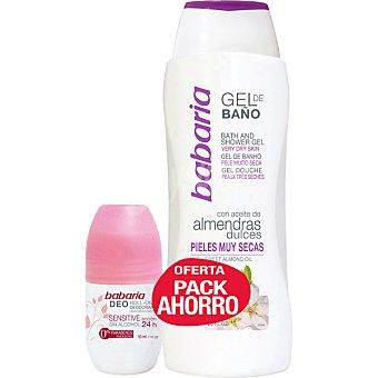 Babaria Pack ahorro desodorante roll-on sensitive sin alcohol 50 ml +gel de baño almendras dulces 50 ml