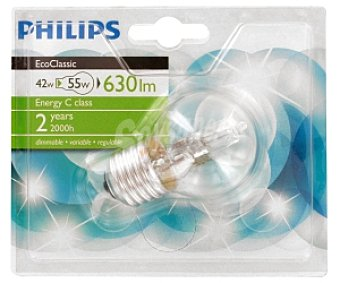 Philips Bombilla halógena Ecoclassic esférica 42W, blanco cálido, E27, 230V 1u