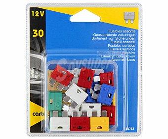 CARTEC Lote de 30 fusibles enchufables (2x2A - 4x5A - 3x7.5A - 5x10A - 4x15A - 4x20A - 5x25A - 3x30A) 1 unidad