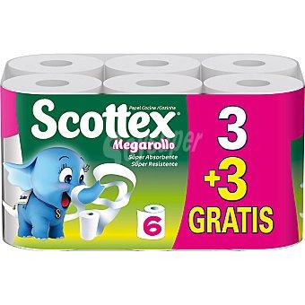 Scottex Rollos de cocina Megarollo superabsorbente + 3 gratis Paquete 3 rollos