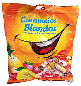 DOLIS Caramelo blando con zumo frutas Paquete 300 g