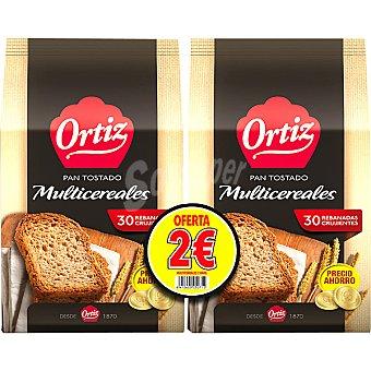 ORTIZ pan tostado multicereales (formato ahorro) pack 2 paquete 240 g