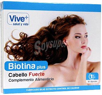 Viveplus Complemento alimenticio para conseguir un cabello fuerte a base de biotina 30 cápsulas 16 gramos